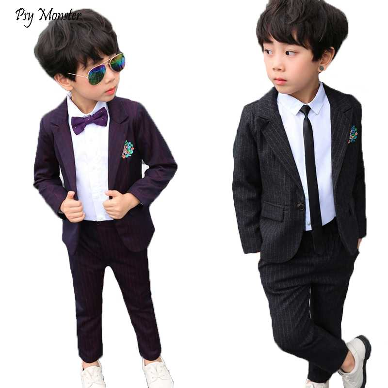 6582ae14da29 Autumn Winter Children's Striped Embroidered Suit Set Boys Host Performance  Piano Party Wedding Clothing Kids Blazer