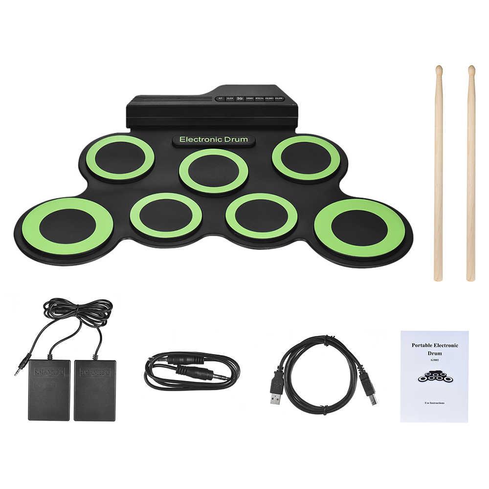Professionale 7 Pastiglie Digitale Portatile Usb Roll Up Pieghevole Del Silicone Elettronico Drum Pad Kit con Bacchette Piede Pedale
