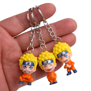 Image 4 - Anime Uzumaki Naruto action toy figure Kakashi Ninja Keychain Japan Konoha Ninja Village Enamel KeyRing men car key Bag Pendant