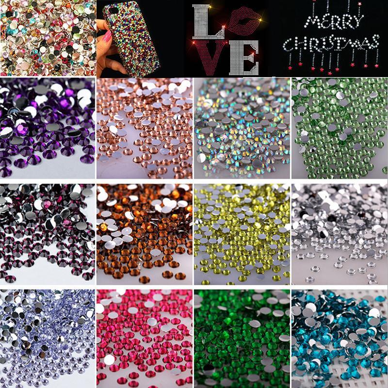 c05d6e93a0 ᗖ3mm 1000pcs/Bag Colorized Crystal Flatback Rhinestones Glitter ...