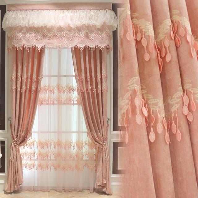 Custom Curtain Simple Modern Korean Garden Pink Princess Cloth Lace Girl  Bedroom Curtain Blackout Curtain Tulle