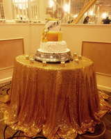 156 Inches/396 CM Round Gold Wedding Sequin Tablecloth Party Glitter Table Cloth Shimmer Table Linens for Home Decoration