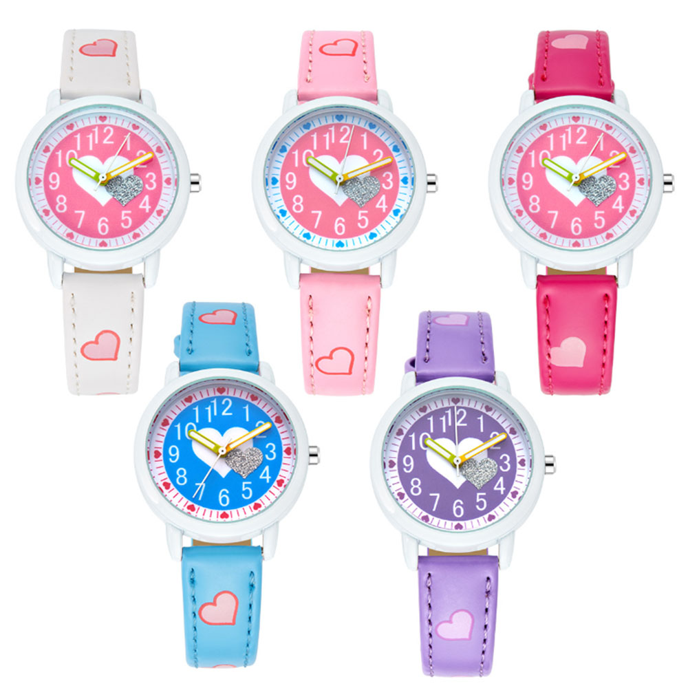 Rhinestone Heart Shape Kids Watches Leather Band Quartz Student Wristwatches For Girls Women Clock Hour Reloj Montre Relogio
