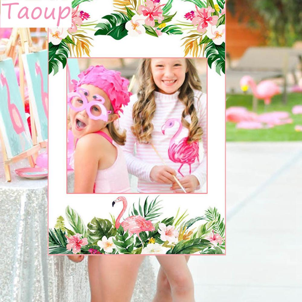 Taoup 68*48cm Pink Flamingo Photo Booth Frame Birthday Party Decor Supplies Summer Hawaiian Party Luau Tropical Photobooth Props