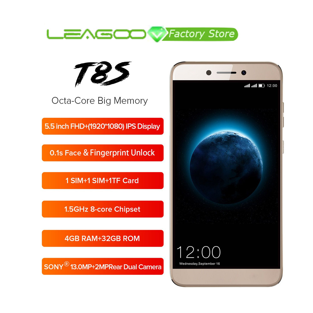 LEAGOO T8s Face ID Smartphone 5 5 FHD Incell RAM 4GB ROM 32GB Android 8 1