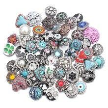 50 pz/lotto Stile Misto 18mm Bottoni a pressione In Metallo Jewelry 50 Disegni Zenzero Scatto di Cristallo Fit 18mm Snap Bracelet braccialetti Collana
