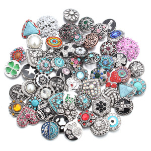 Image 1 - 50pcs/lot Mixed Style 18mm Metal Snap Buttons Jewelry 50 Designs Ginger Crystal Snap Fit 18mm Snap Bracelet Bangles Necklace