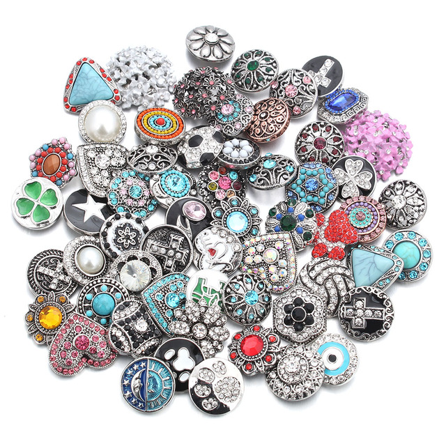 50pcs/lot Mixed Style 18mm Metal Snap Buttons Jewelry 50 Designs Ginger Crystal Snap Fit 18mm Snap Bracelet Bangles Necklace