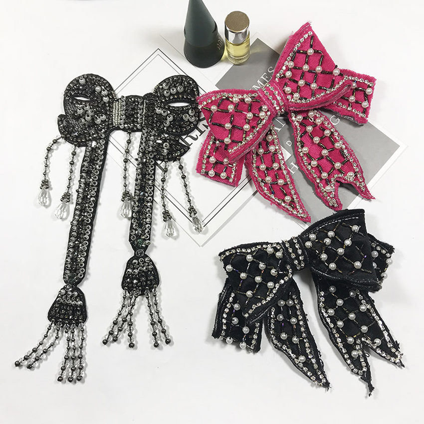 New Women Tie Beading diamond decor Butterly Women 39 s Bow Tie fashion Female Girl Student Hotel Clerk Waitress Neck Wear Ties in Women 39 s Ties amp Handkerchiefs from Apparel Accessories