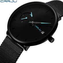 CRRJU Top Brand Watches Unique Design Luxury Sport Wrist Stainless Steel Mesh Strap Watch Men's Fashion Casual Date Watches