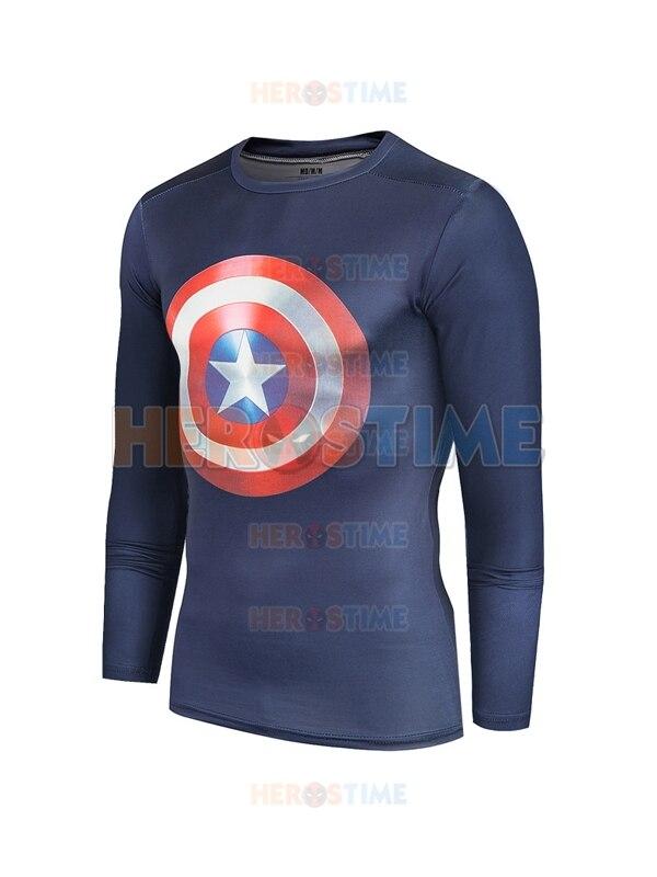 Bleu marine Captain America bouclier séchage rapide modèles 3D Tee Sportswear