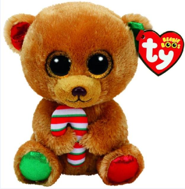 1d3fc108527 Ty Beanie Boos 36cm Large Size Bella Bear Sparkly Eyes Candy Cane Christmas  Bear With Hang Tags Plush Stuffed Animals Doll Toys