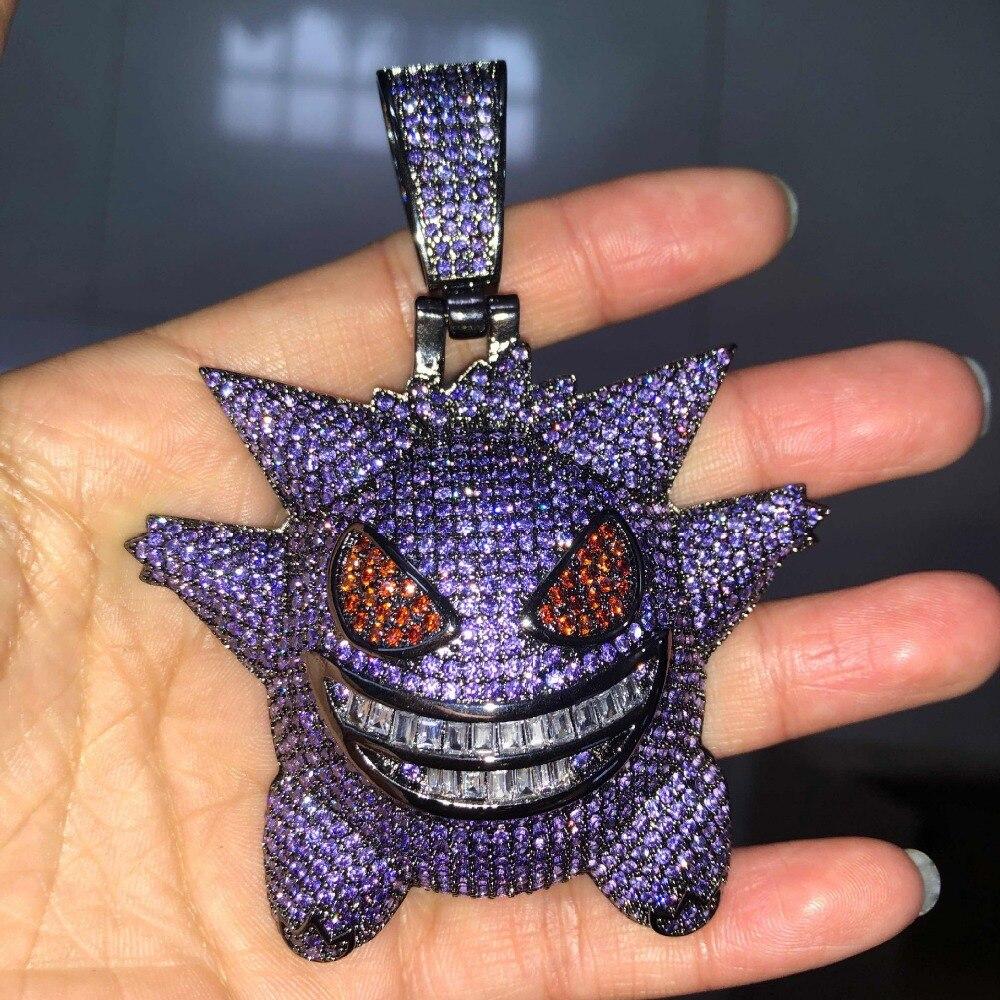 New Arrival Big Pokemon Mask Gengar Pendant Necklace Men Hip Hop AAA CZ Zircon Bling Ice