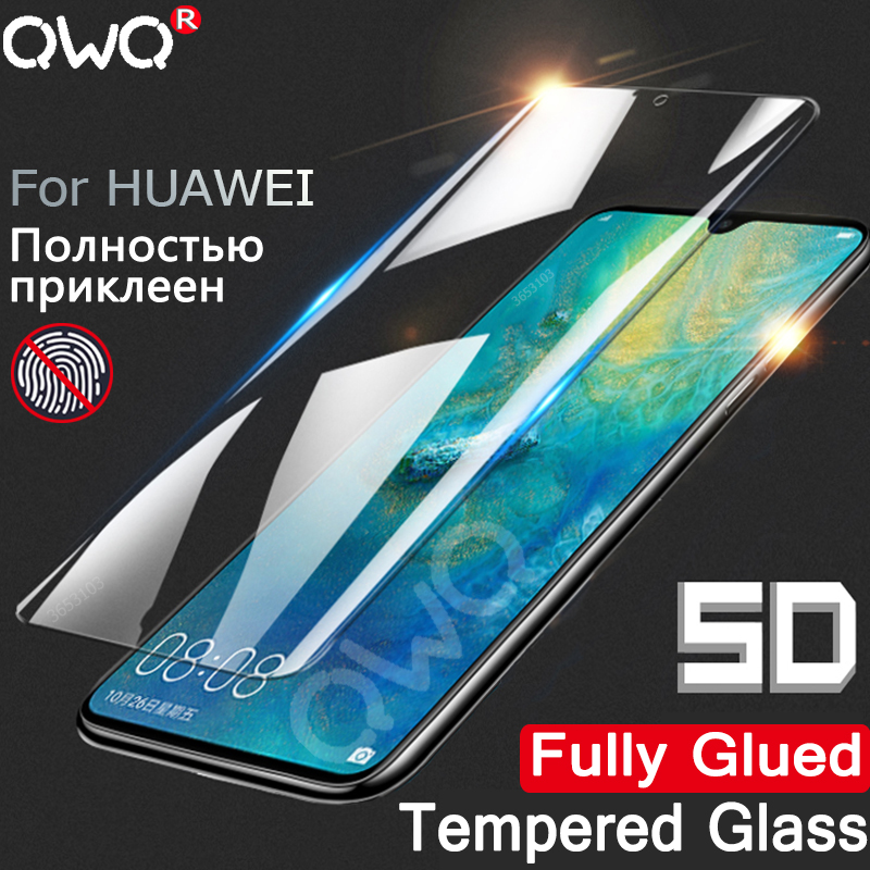 5D Full Glue Tempered Glass For Huawei P20 P30 Mate 20 Lite Pro P Smart Screen Protector Film For Huawei P10 Lite Fully Cover HD
