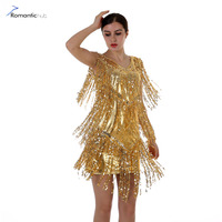Women Dress Sexy Nightclub Vestido De Festa Flapper 1920s Gold Vintage Great Gatsby Tassel Sequin Party