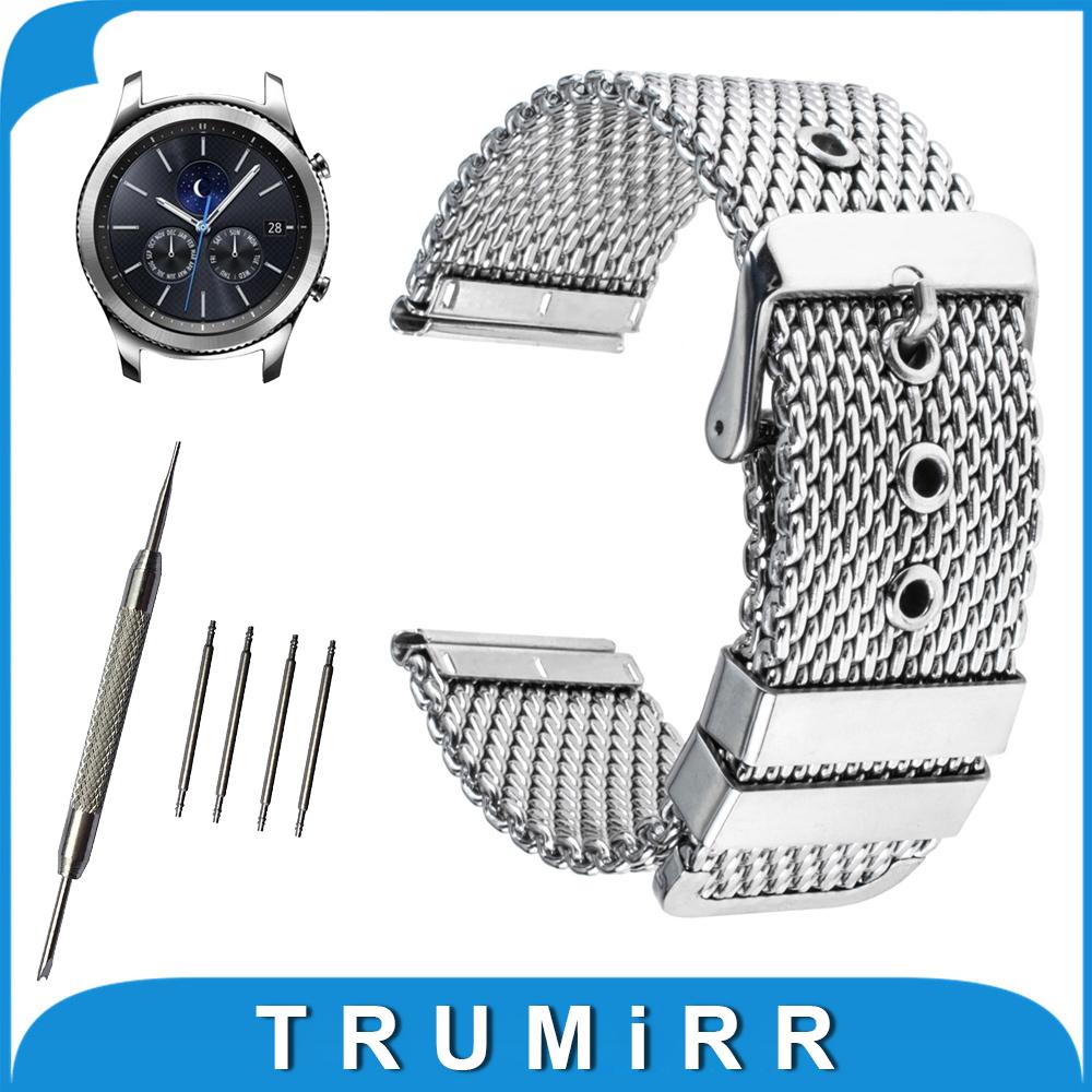 Prix pour 22mm Milanese Sainless Acier Bande de Montre pour Samsung Gear S3 classique/Frontière Boucle Ardillon Bracelet Ceinture Bracelet Noir argent