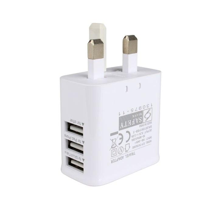 3 Ports USB Prise Chargeur, 5.3 v, 3A Sortie Électrique Adaptateur secteur, Utilisé pour iPhone, iPad, Samsung et Autres Téléphones Mobiles, Tablettes Pc