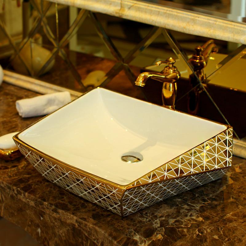 nuovo design di lusso dorato porcellana bagno vanit lavandino del bagno ciotola rettangolare in ceramica da