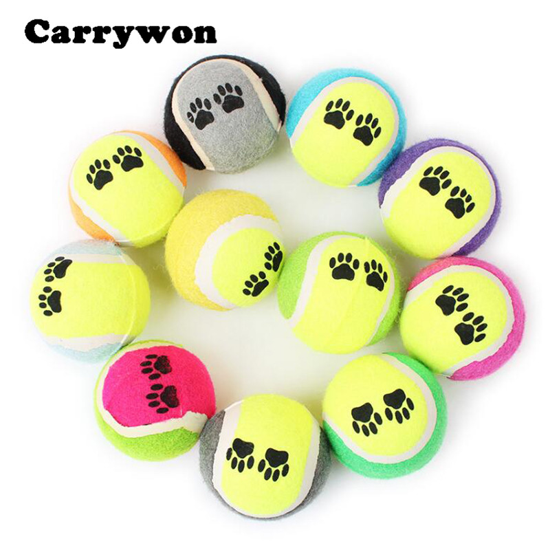 Carrywon Double Color Rubber Puppy Dog Toys Balls Throwing Toy Interactive Games Cute Footprint Printed Tennis Pets Products