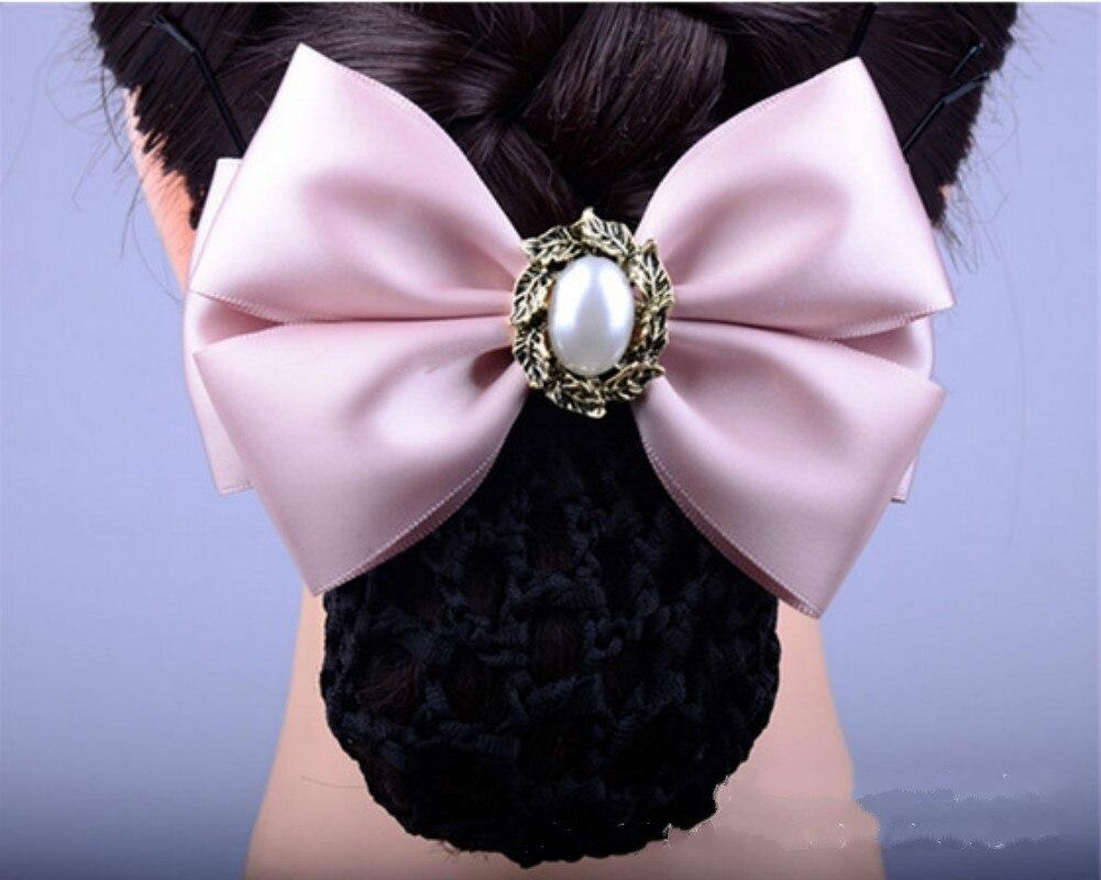 Pearl Hairband Bowknot Net Bun Snood Hair Clip Cover Hair Accessories