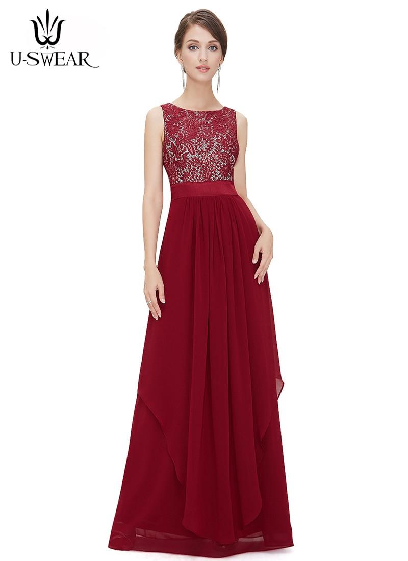 0c37eea9922 Купить U SWEAR летние элегантные длинные платья женщин 2018 Формальное  Кружева Винтаж o образным вырезом Свадебное нарядное платье для невесты  vestidos Цена ...