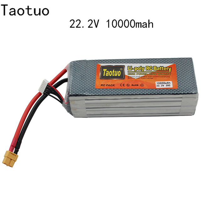 Taotuo Lithium Lipo Battery 22.2V 10000mAh 6S 30C XT60 For Dji Phantom S900 S1000 Rc Helicopter Quadcopter Drone Bateria Lipo