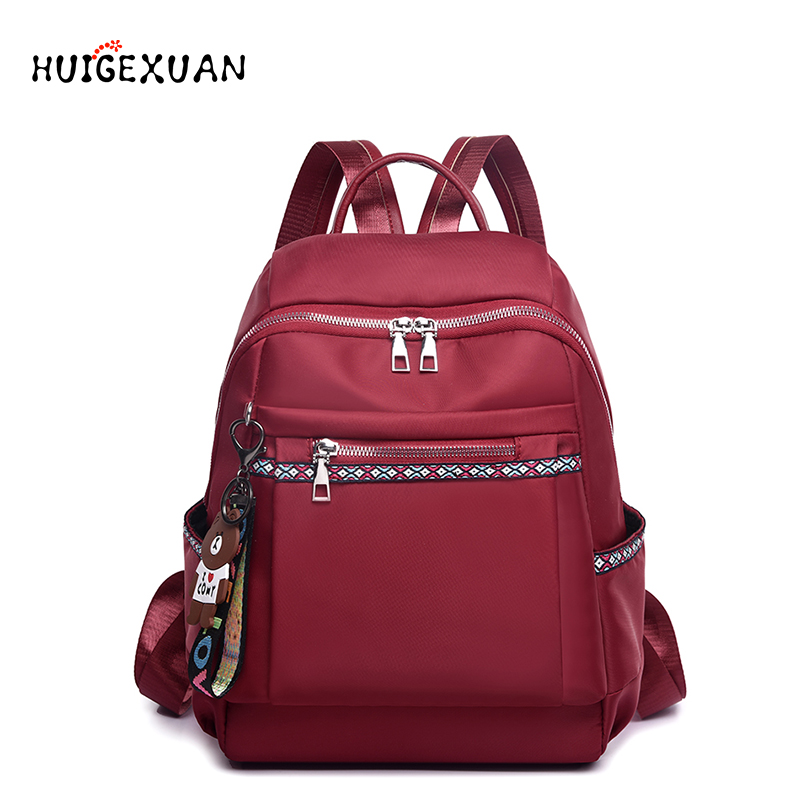 High Quality Nylon Women Zipper School Bag For Teenage Backpack Girls Soft Handle Portable Schoolbag Student Anti-theft Backpack