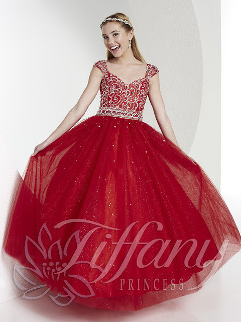 Cap Sleeve Crystal Cheap Girls Pageant Dresses Kids Tulle Ball Gowns ...