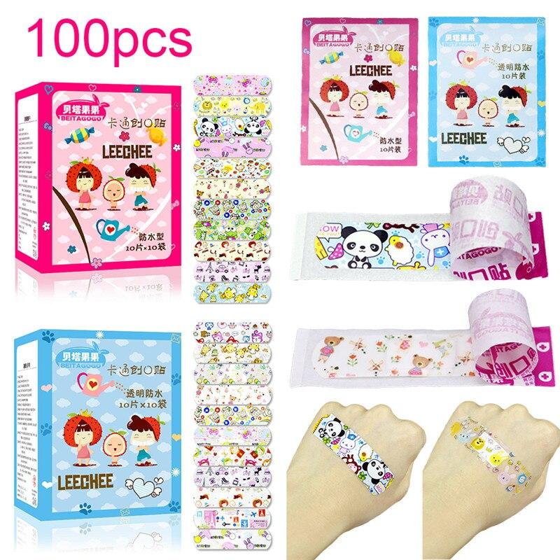 100 pièces imperméable à leau respirant mignon bande dessinée adhésif Bandages pansement premiers soins autocollants pour enfants enfantsKits durgence   -