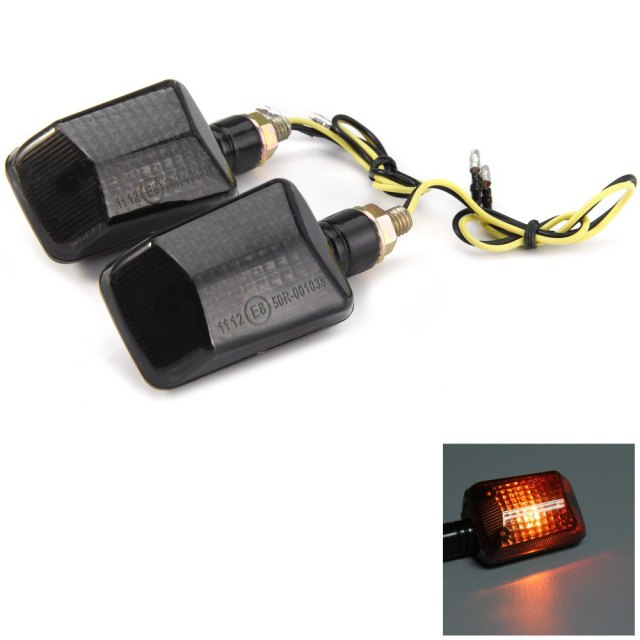 2Pcs Turn Signal Lamp 12V 2.5W Motorcycle Turn Signal Indicator Light Motorbike Amber Lamp E8 Bulb Energy Saving Long Lifespan