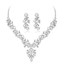 NewFashion Rhinestone Alloy Water Drop Pearl Pendant Necklace Earrings Set Bridal Jewelry Sets Wedding Jewelry for Women стоимость