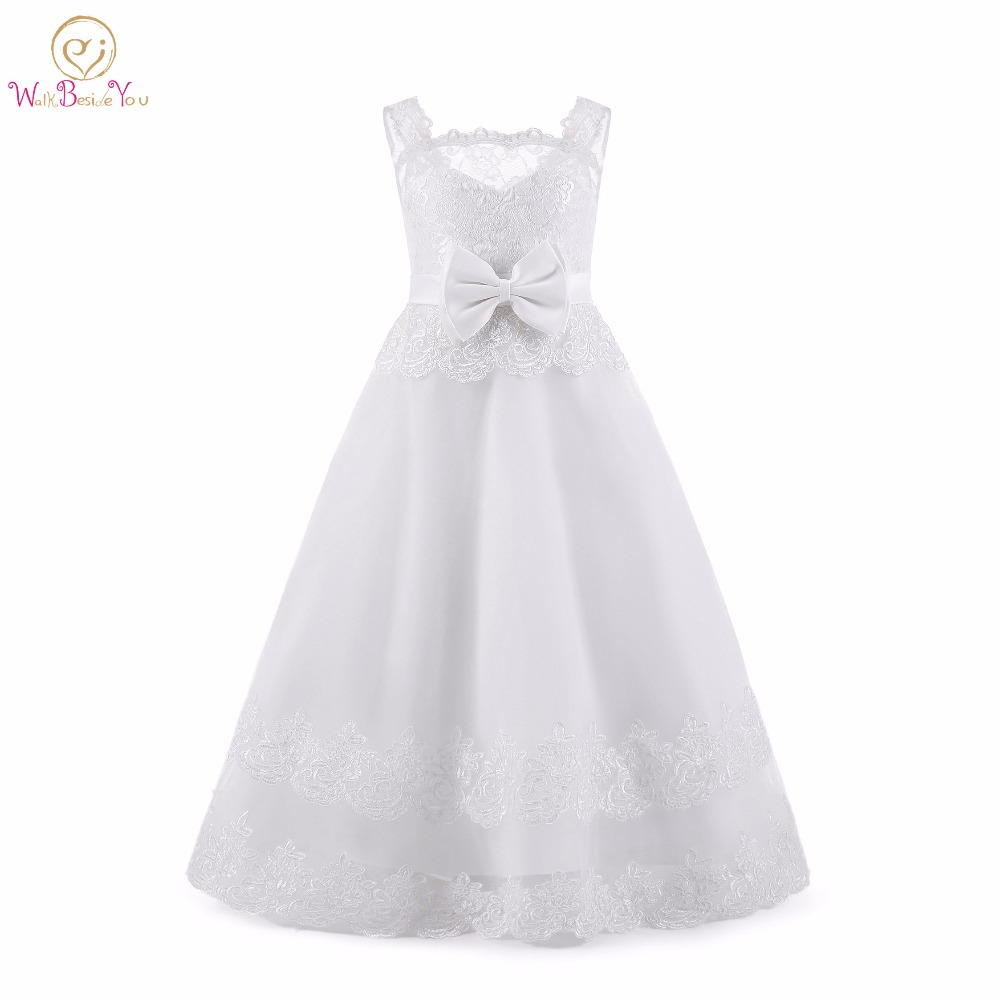 Primera Comunion   Dresses   2019 White / Ivory   Flower     Girl     Dresses   Tulle Lace Applique with Bow Prom vestido longo para meninas