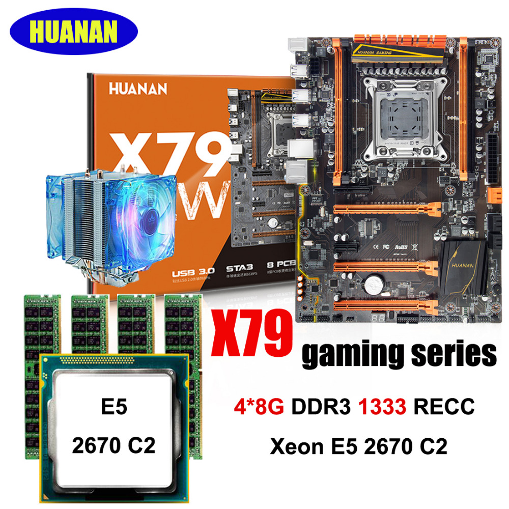 HUANAN X79 deluxe gaming motherboard CPU RAM combos X79 LGA2011 motherboard Intel Xeon E5 2670 C2 CPU RAM 32G(4*8G) DDR3 REG ECC deluxe edition huanan x79 lga2011 motherboard cpu ram combos xeon e5 1650 c2 ram 16g 4 4g ddr3 1333mhz recc gift cooler