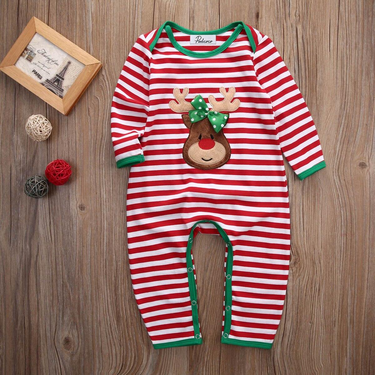 Newborn Baby Boy Girl Romper Xmas Bodysuit Sleepsuit Sleepwear Pajamas Nightwear