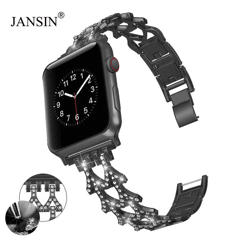 For Apple Watch 4 band 44mm 40mm Women Diamond Strap For iWatch Band 42mm 38mm Metal Bracelet For Apple Watch Series 5 4 3 2 1