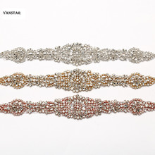 30 PIECES Wholesale Sewing On Clear Crystal Rhinestones Appliques Rose Gold Sliver For Wedding Bridal Gown Belt DIY Accessory