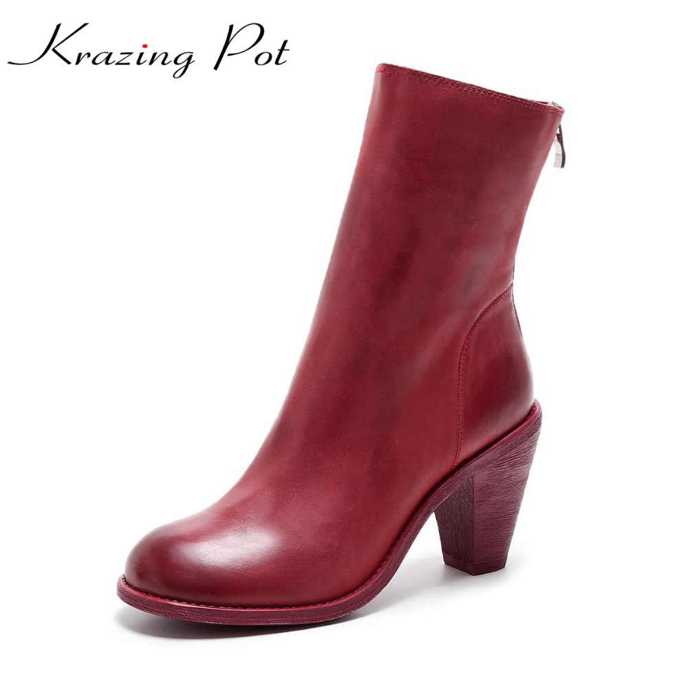 Krazing Pot full grain leather thick high heels glasses heels round  toe beauty zipper gradient color mid-calf Chelsea boots L99 popular high quality full grain leather mid calf boots size 40 41 42 43 44 solid zipper design round toe boots