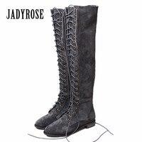 Jady Rose/Новинка 2019 года, серые замшевые женские ботфорты на шнуровке, женские облегающие высокие сапоги на плоской подошве, Botas Mujer