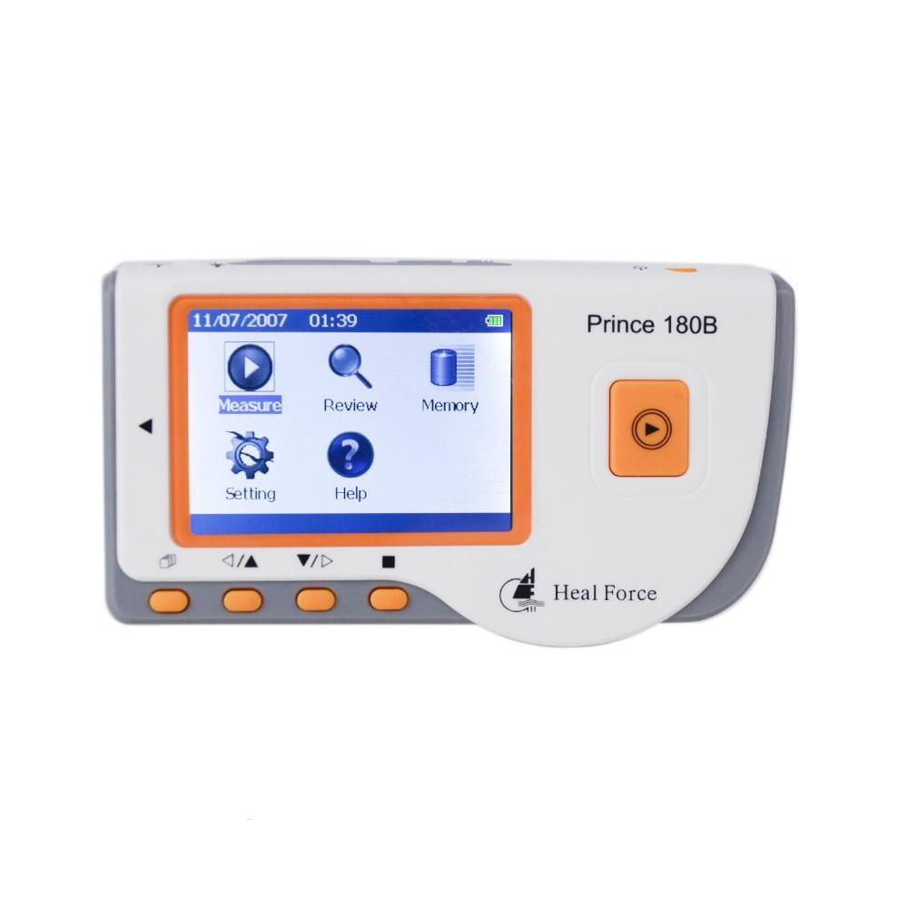 Prince 180B Color Digital Mini Handheld Pro Easy ECG EKG Portable Cardiac Heart Electrocardiogram ECG Pathological Analysis heal force prince 180b blue color portable heart ecg monitor electrocardiogram contain ecg lead wire