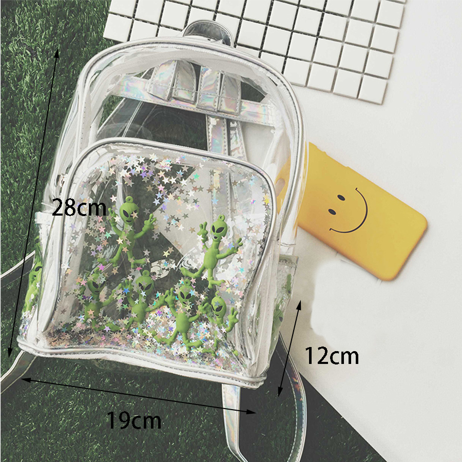 Harajuku Transparent Laser PVC Backpack Women Bookbag Laser Alien Star Women Travel Backpack Clear Itbag Bag For Teenage Girls