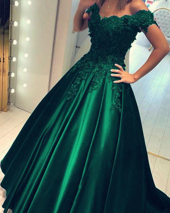 Emerald Green Quinceanera Dresses Off The Shoulder Ball Gown Satin Lace Appliques Vestidos De 15 Anos Floor Length Robe De Bal