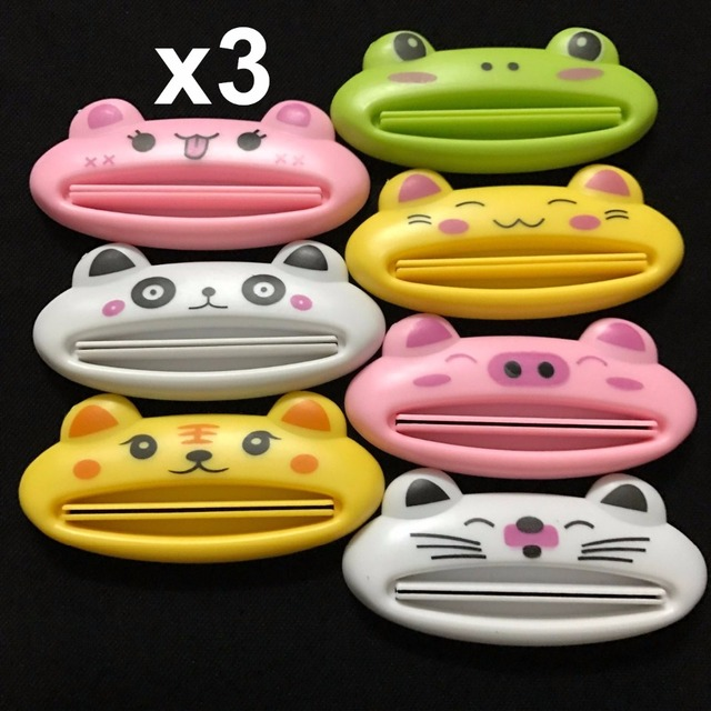 3pc New Toothpaste Tube Squeezer Easy Squeeze Paste Dispenser Roll Holder Cartoon Frog/AnimalCat/Frog/Panda/Pig Hot Selling