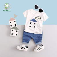 NNW 2017 new boys and girls in summer cotton sets Baby short sleeved clothing Fashion T shirts and short striped pants wholesale