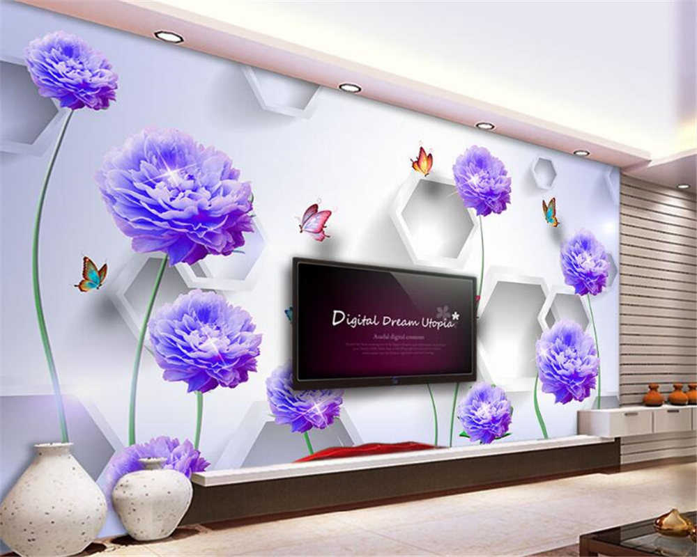 Online Dapatkan 3d Wallpaper Bunga Biru Murah Aliexpresscom