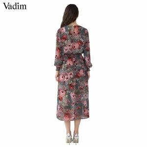 Image 3 - Vadim kobiety z kwiatowym wzorem z szyfonu sukienka dwa kawałki zestaw z długim rękawem w pasie do połowy łydki o szyi casual sukienki markowe vestidos QZ3200