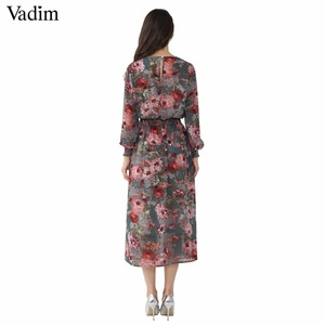 Image 3 - Vadim vrouwen bloemen chiffon jurk twee delige set lange mouwen elastische taille mid calf o hals casual brand jurken vestidos QZ3200