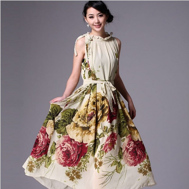 2014 Spring Summer Plus Size Dresses Ladies Fashion Sleeveless Maxi