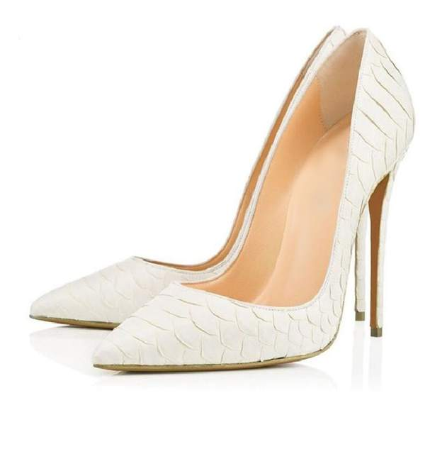 d1d5aaa6861e Online Shop Sexy High Heel Shoes White Snake Print Leather Stilettos Shoes  For Women Pointed Toe Slip-on Leather Dress Pumps Shoes
