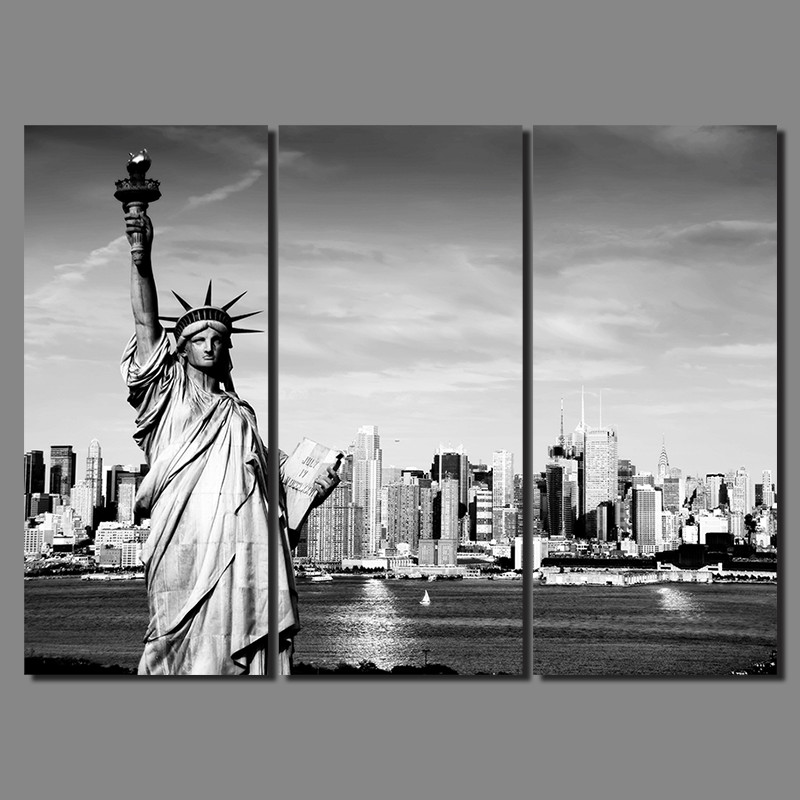 New York City Picture Canvas Painting Modern Wall Art: Black White Modern City New York Statue Of Liberty Picture