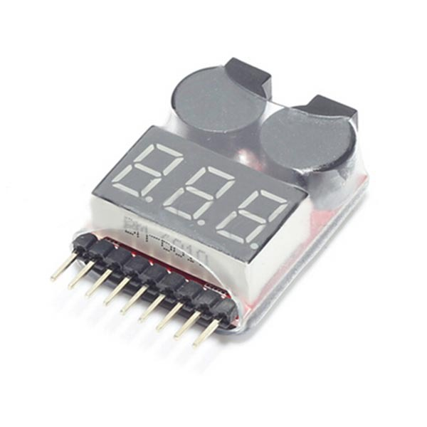 New 1-8S Battery Display Low Voltage Buzzer Alarm 2IN1 Tester Module BB Ring